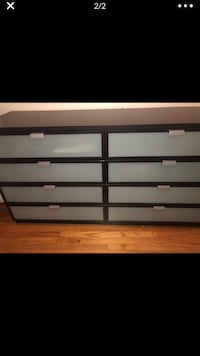 Frosted glass dresser brown/black great condition + night stand wall mount set one owner