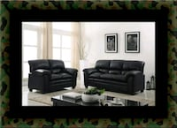 Black bonded leather sofa and loveseat Parkville