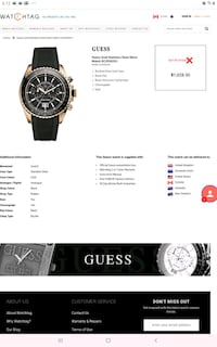 Guess collection mens rose gold watch