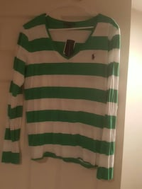green and white striped Ralph Lauren v-neck long sleeve shirt Glen Burnie, 21060