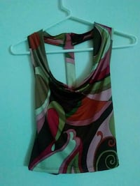 women's red,pink,black and white tank top