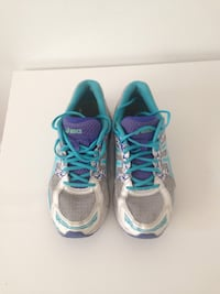 Pair of teal-and-gray asics running shoes .Size 11