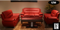 0010 - Felix Red Leather Sofa & Chair