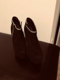 pair of black suede heeled booties Annandale, 22003