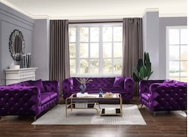 PURPLE VELVET TUFTED SOFA & LOVESEAT! ALSO AVAILABLE IN BLUE