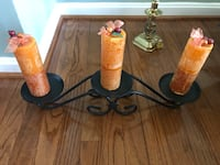 Three candles holder w/ candles. Excellent condition and smoke free home. Bristow, 20136
