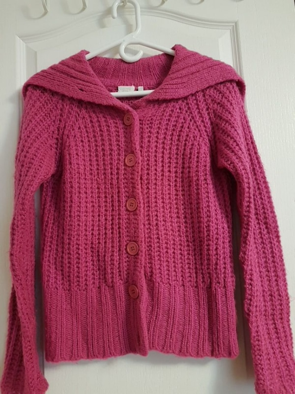 red crochet button-up sweater