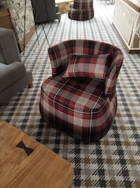 Red black white plaid fabric lounge chair