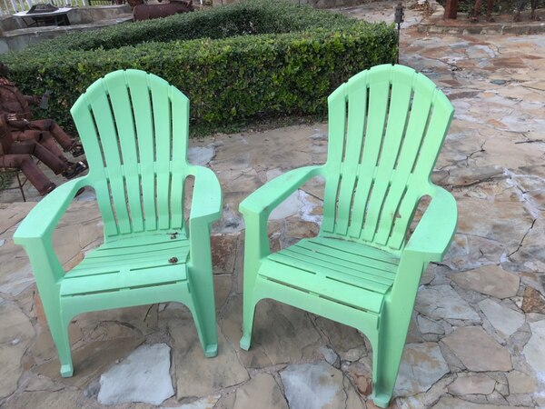 2 Green Outdoor Chairs Heavy Plastic