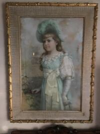 woman in white dress painting with brown wooden frame Sacramento, 95842
