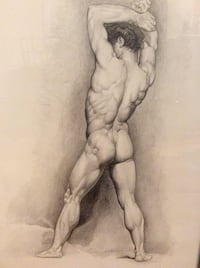 Academic Drawing of Male Nude in Pencil