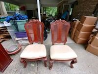 two brown wooden framed white padded chairs Alexandria, 22312