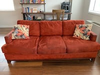 Red microfiber 3-seat sofa Arlington, 22204