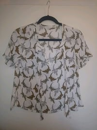 Graphic blouse with bowtop collar shirt.  Vancouver, V6Z