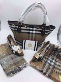 black and brown plaid leather tote bag Brossard, J4Z 3C2