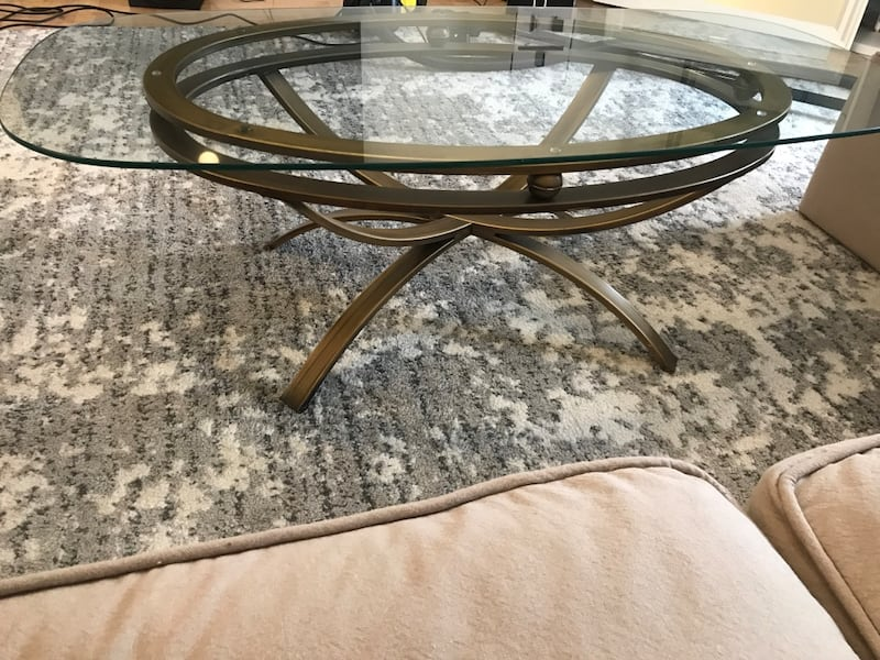 Contemporary brass base glass coffeetable 9871fb7c-1a2e-4959-83cf-0caee3db69c2