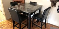 rectangular brown wooden table with four chairs dining set Yonkers, 10583