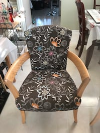 Pair of black and white floral padded armchairs / accent chairs with matching ottoman. Westminster, 92683