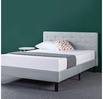 Zinus Full Size Upholstered Bed Frame with Zinus 8 Inch Full Mattress