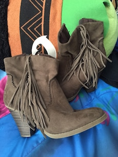 brown leather fringe boots