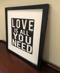 """Square black and white """"love is all you need"""" frame wall decor - obo San Diego, 92131"""
