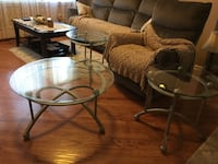 Set of Three Round base glass top coffee table
