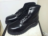 pair of black leather work boots