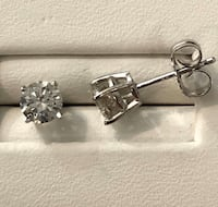14k white gold .80ct. diamond stud earrings *Compare at $2,600 Vaughan, L4J