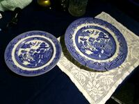Two old blue willow plates Perry, 48872