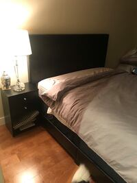 Queen size leather bed frame and side tables Vancouver, V6Z 1Y2