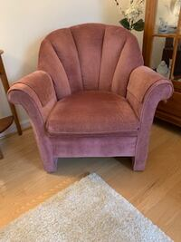 Two Burgundy tulip chairs and matching Ottoman stool FAIRFAX