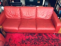 Red Leather couch, chair & ottoman