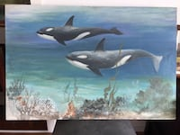 Original oil painting Whales