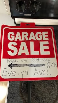 red and white Garage Sale signage Hagerstown, 21742