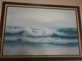 Painting with the ocean waves and birds