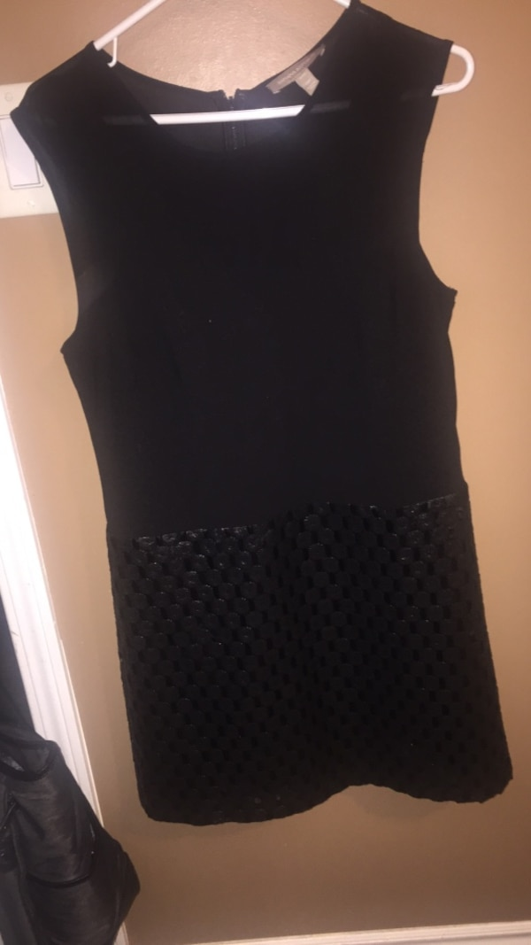 Banana republic black dress v neck leather