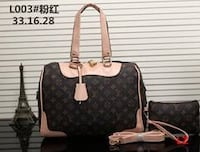 brown and black monogram Michael Kors leather tote bag