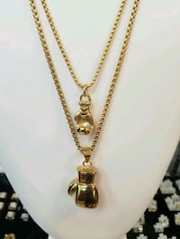 18K Gold Plated Venice Box Chains w/Boxing Gloves Layering Set Mississauga