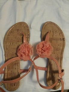 beige-and-peach-colored sandals