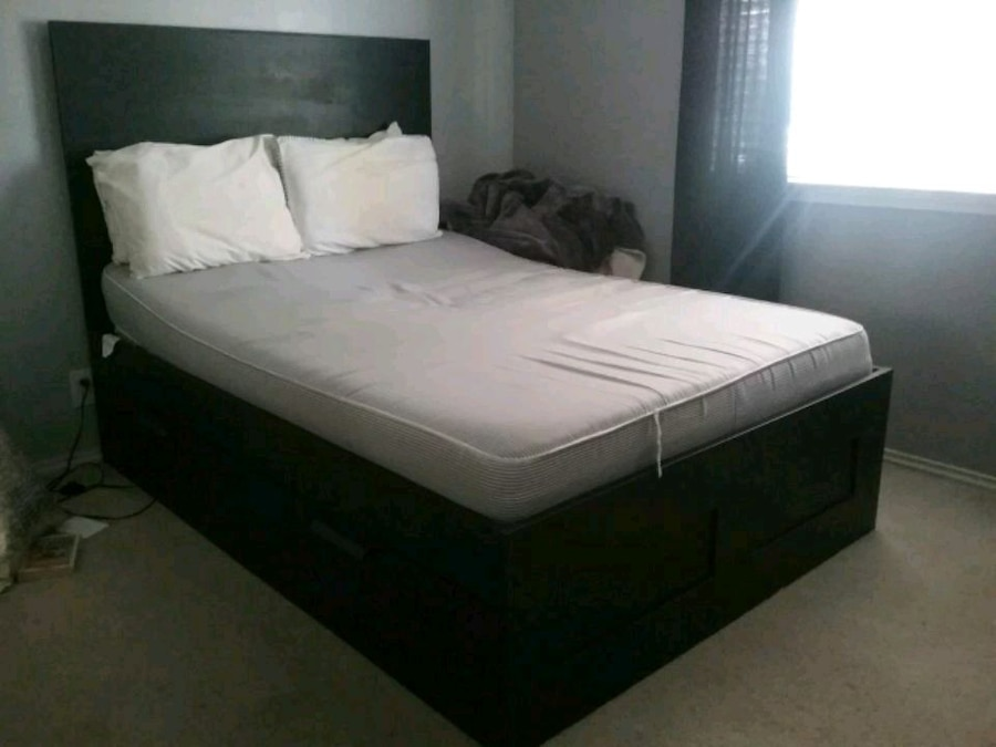 Photo Black IKEA Brimnes bed with storage