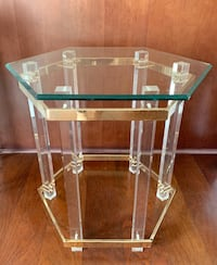 Vintage glass, brass and lucite side table