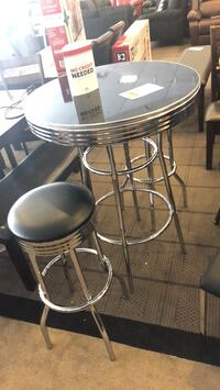 Round black metal table with two chairs Phoenix, 85018