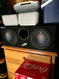 black and gray Pioneer subwoofer speaker