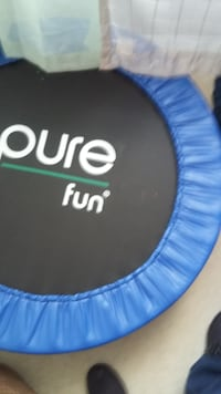 round blue and black Pure Fun indoor trampoline 44 km