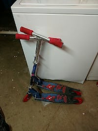 two Spider-man themed blue-and-red kick scooters Houston, 77096