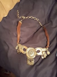 brown and silver necklace