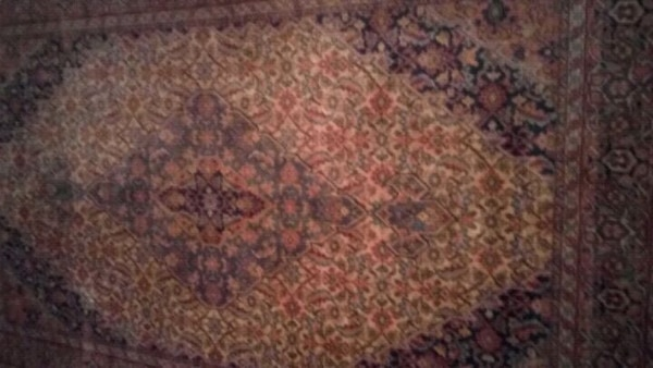 brown and red floral area rug