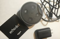 black Amazon echo dot with charger adaper ASHBURN