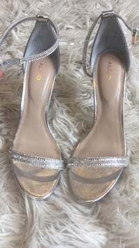 pair of gray leather open-toe heels Vancouver, V5K 3A3
