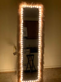 Light up tall mirror hangs on door  Middle River